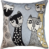 Picasso Light Blue Cats Quadruplets Decorative Pillow Cover Handmade Wool 18x18