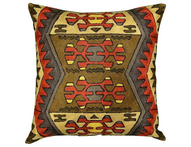 "Aztec Navajo Tribal Pillow Brown Red Hand Embroidered Wool 18"" x 18"" - KashmirDesigns"