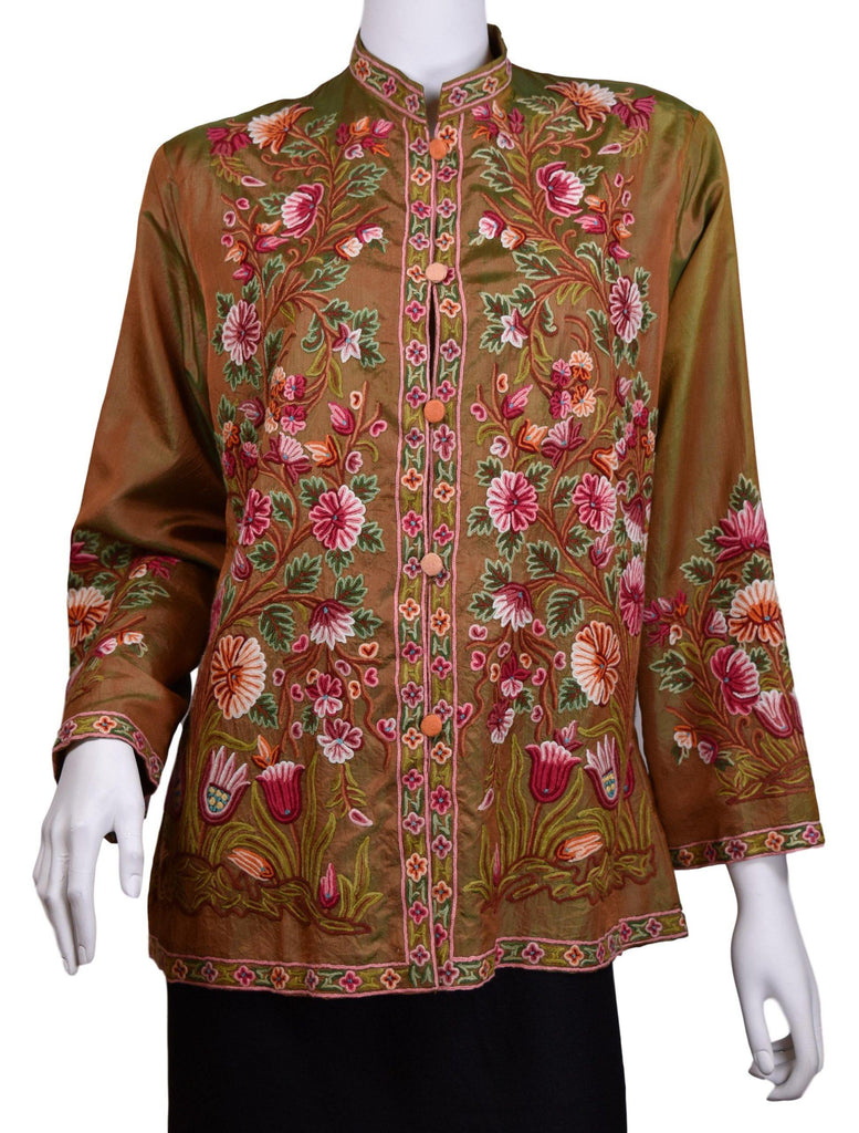 Pheme Spice Brown Silk Dinner Jacket Paisley Evening Dress Coat Hand Embroidered Kashmir