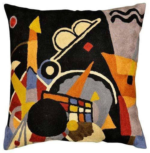 "Kandinsky Grand Torre Kiev Pillow Cover Hand Embroidered 18"" x 18"" - KashmirDesigns"