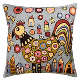 Rooster Collage Karla Gerard Accent Pillow Cover Handembroidered Wool 18