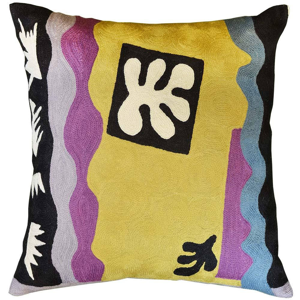 "Matisse Accent Pillow Cover Flower Hand Embroidered 18"" x 18"" - KashmirDesigns"