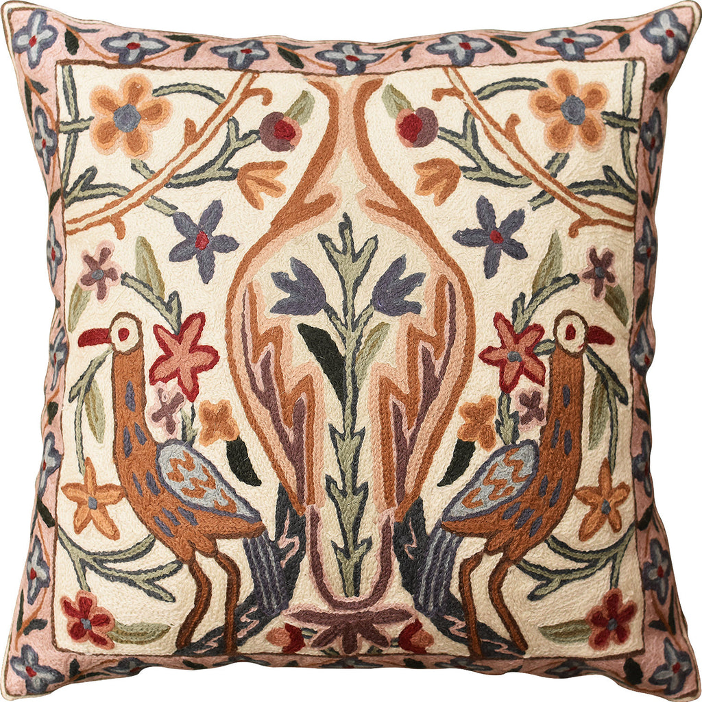 "Floral Vase Tree of Life Two Crane Decorative Pillow Cover Handmade Wool 18""x18"" - KashmirDesigns"