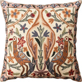 Floral Vase Tree of Life Two Crane Decorative Pillow Cover Handmade Wool 18