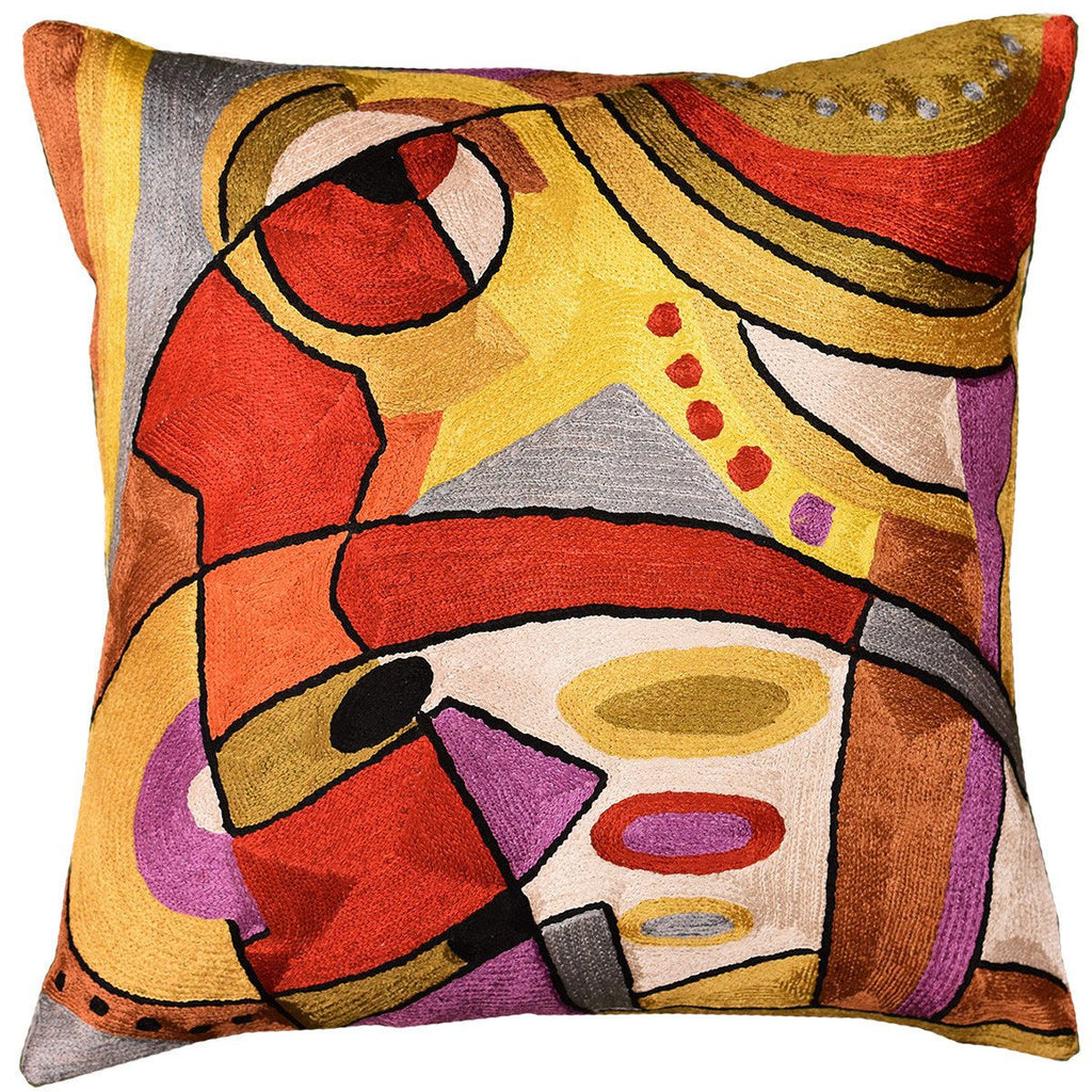 "Decorative Cushion Cover Abstract Musical Hand Embroidered 18"" x 18"" - KashmirDesigns"