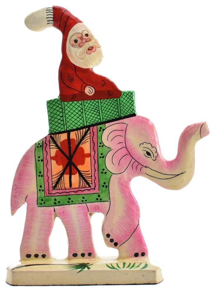 Santa Elephant Christmas Holiday Ornaments Handmade Handpainted - KashmirDesigns
