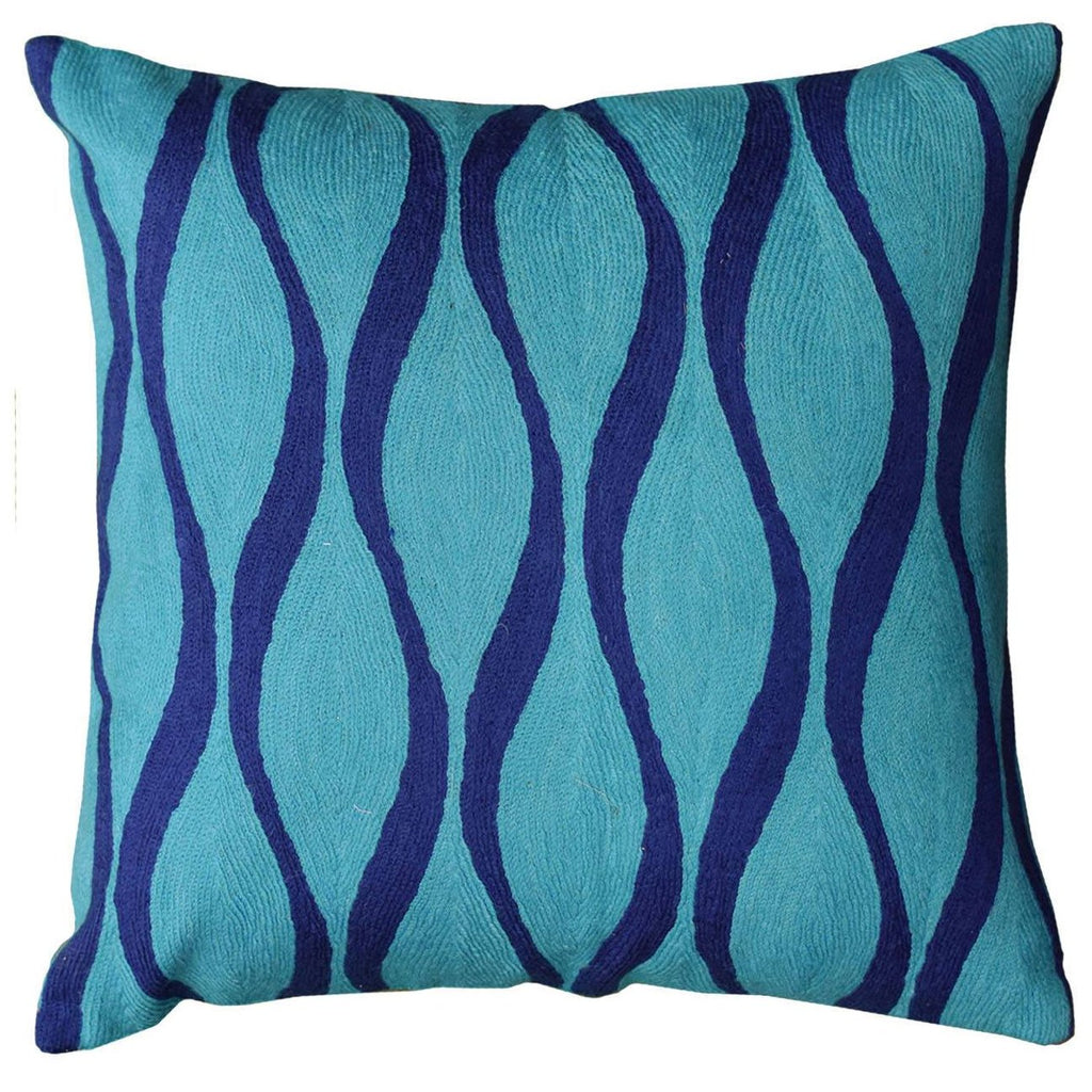 "Contemporary Waves Aqua Turquoise Decorative Pillow Cover Wool 18"" x 18"" - KashmirDesigns"