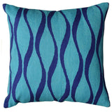Contemporary Waves Aqua Turquoise Decorative Pillow Cover Wool 18