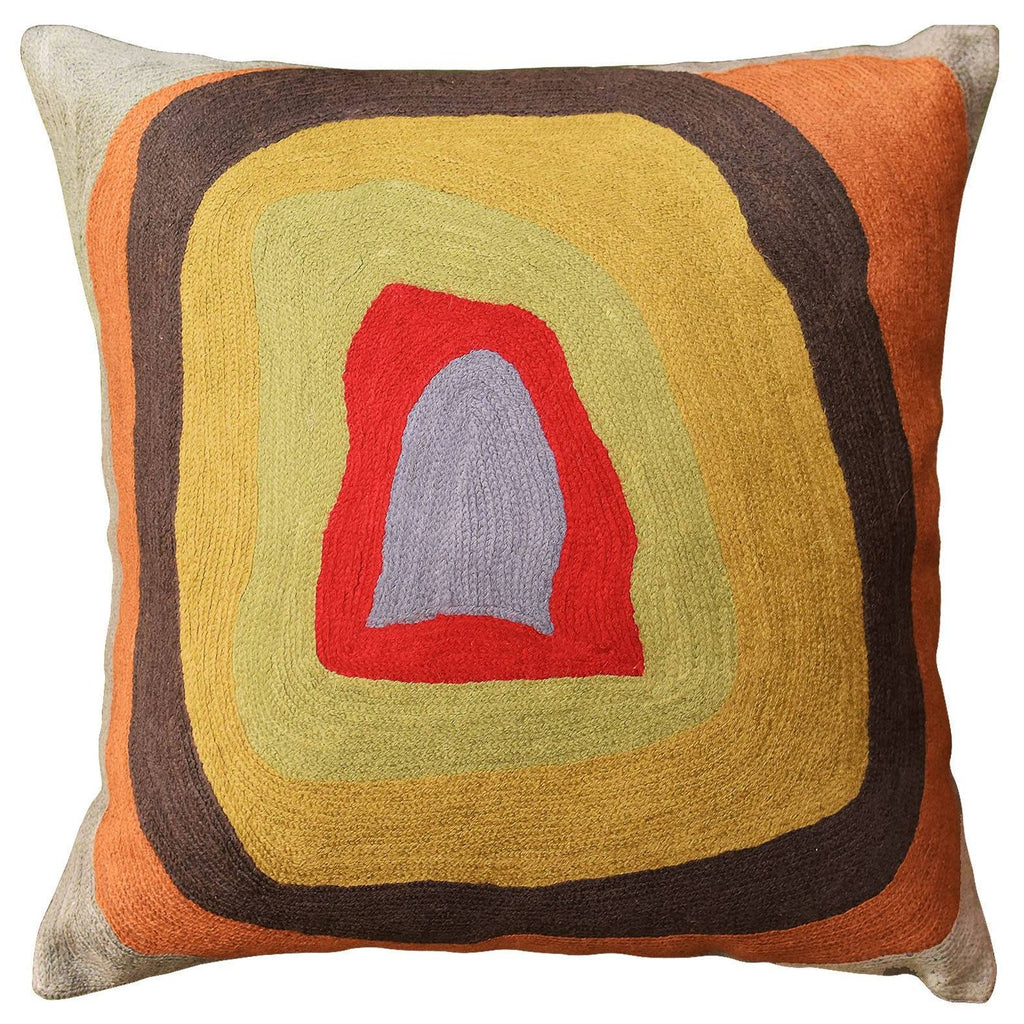 "Kandinsky Colorful Soul Decorative Pillow Cover Wool Hand Embroidered 18"" x 18"" - KashmirDesigns"