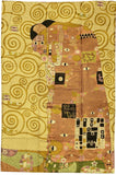 Klimt Kiss Silk Modern Abstract Rug / Wall Art Hand Embroidered 4ft X 6ft