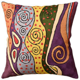 Klimt Purple Night Sky II Accent Pillow Cover Handembroidered Wool 18