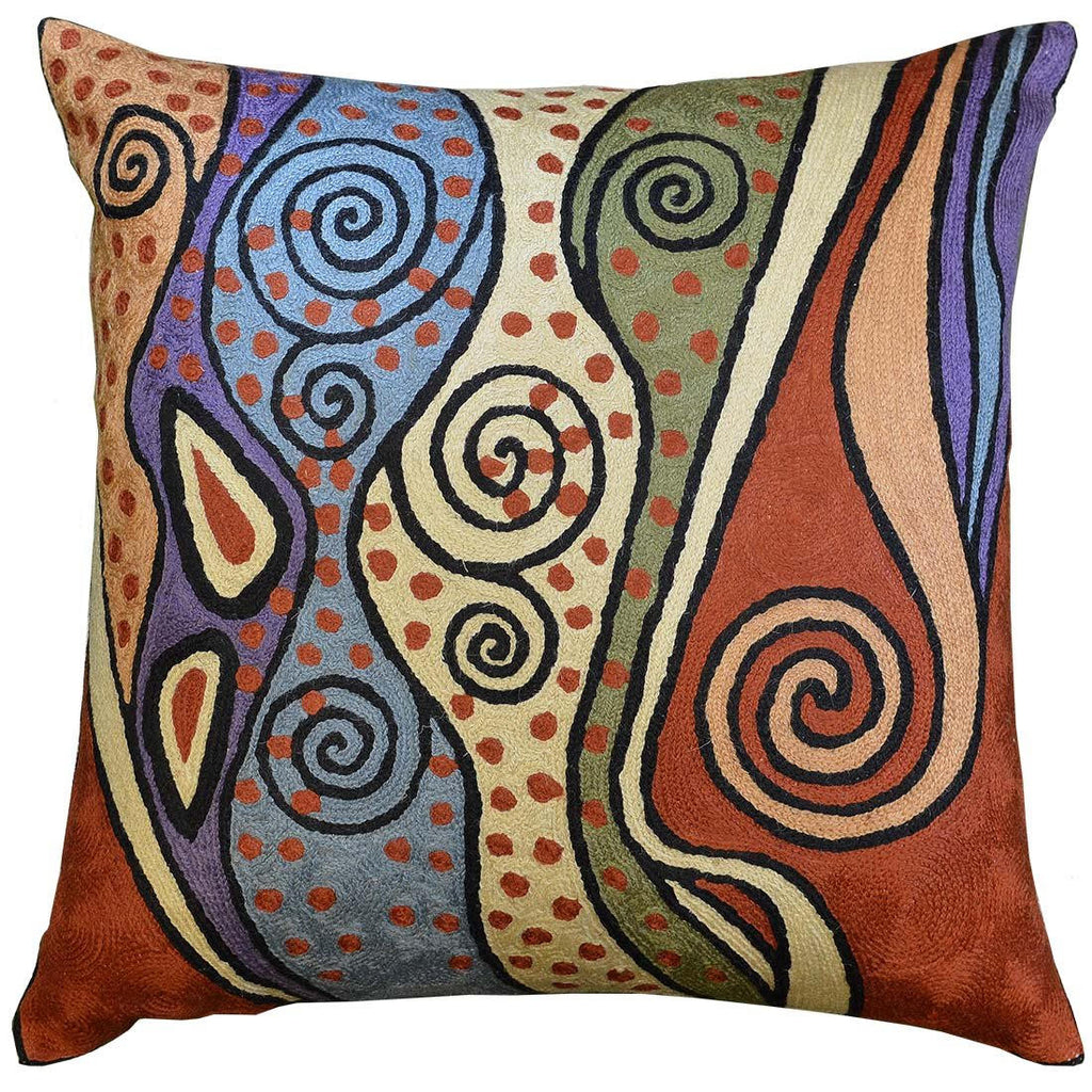 "Klimt Rust Pillow Cover Night Sky Decorative Hand Embroidered Wool 18x18"" - KashmirDesigns"