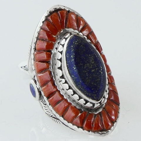Size 8 Natural Lapis Coral Ring Sterling Silver Marquise