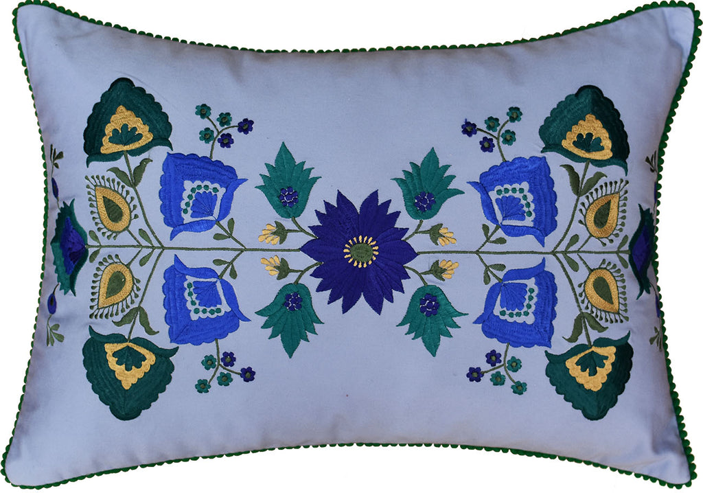 "Lumbar Blue Floral Cotton Decorative Pillow Cover Silk Embroidery  14""x20"" - KashmirDesigns"