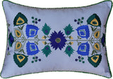 Lumbar Blue Floral Cotton Decorative Pillow Cover Silk Embroidery  14