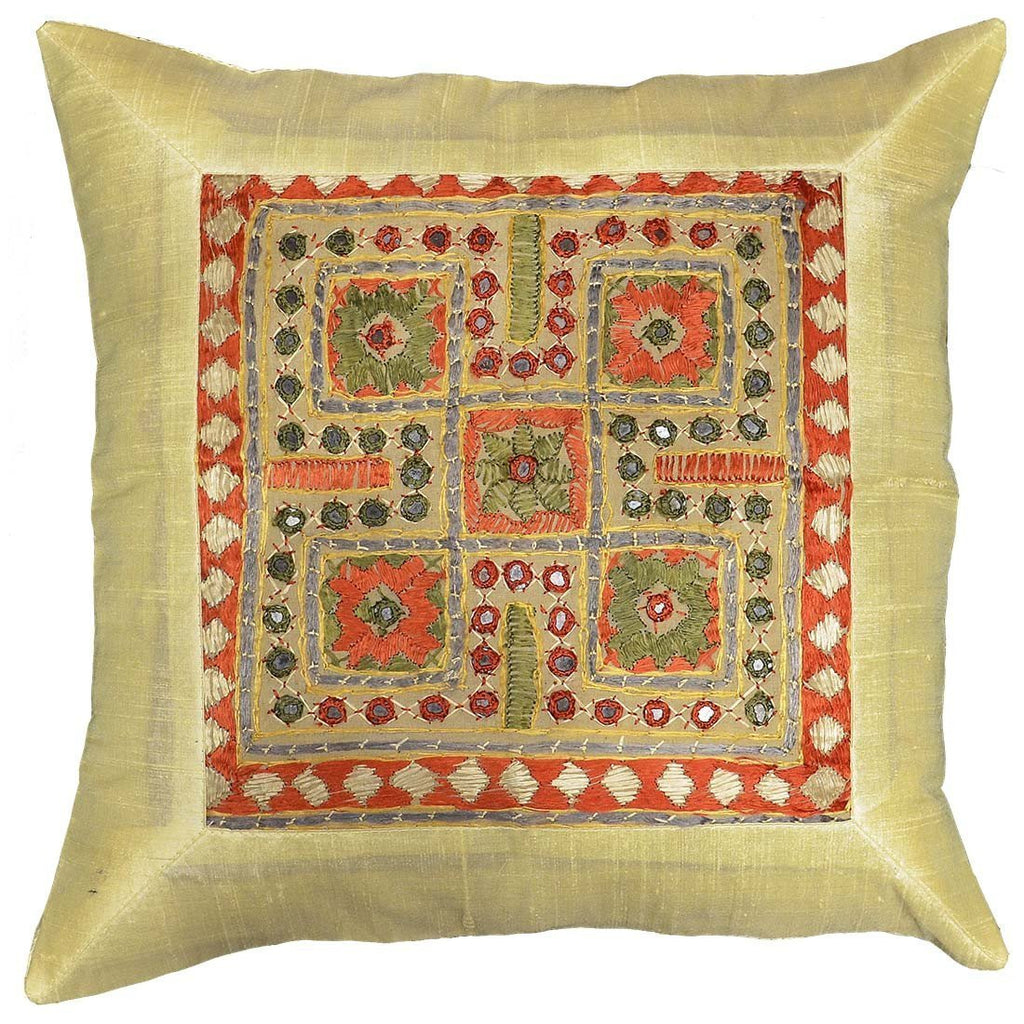 "Silk Beige Yellow Accent Sofa Zardozi Pillow Cover 16"" x 16"" - KashmirDesigns"