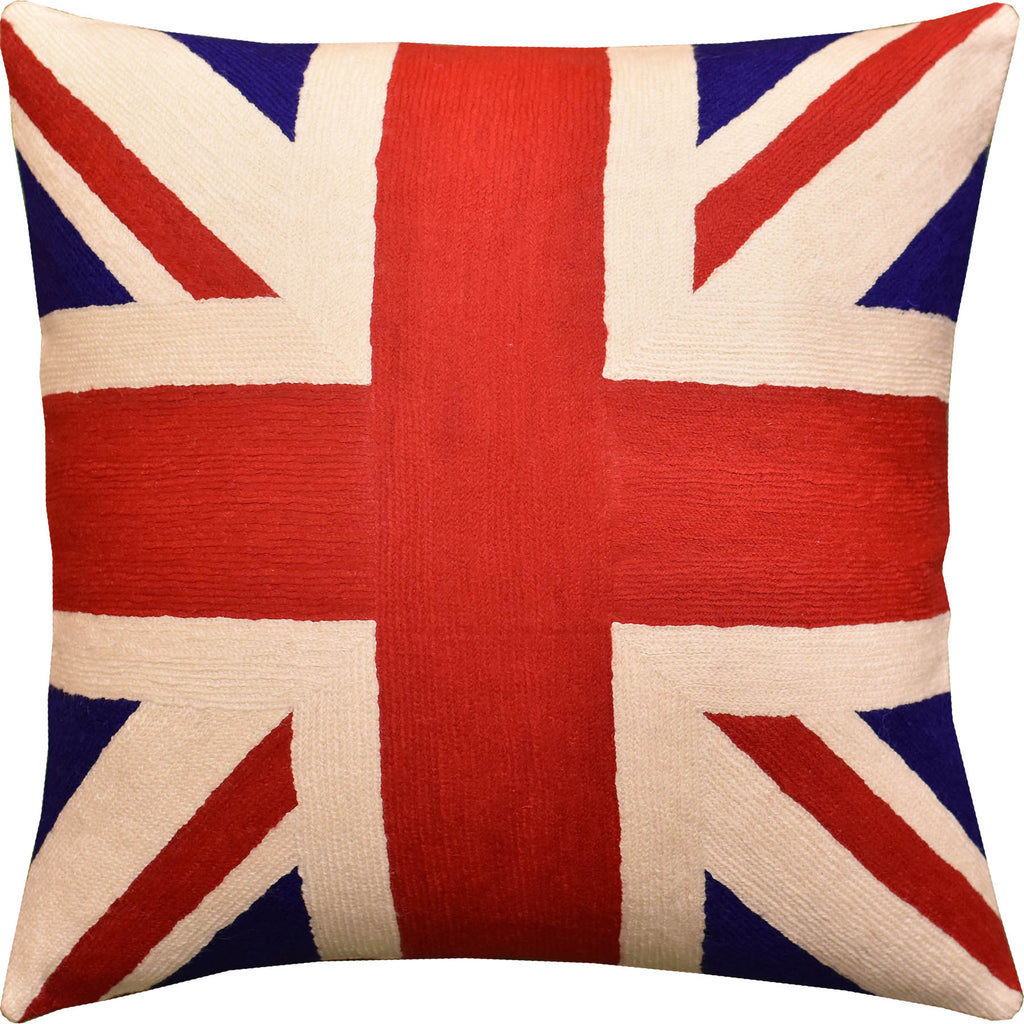 "British Flag Union Jack Decorative Pillow Cover Handembroidered Wool 18x18"" - KashmirDesigns"