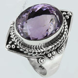 Size 8.5 Violet Amethyst Ring Sterling Silver Oval Rings