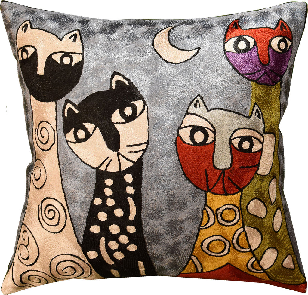 "Picasso Light Blue Cat Quadruplets Pillow Cover Handembroidered Art Silk 18""x18"" - KashmirDesigns"