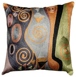 Klimt Blue Green Accent Pillow Cover Tree of Life Hand embroider Art Silk 18x18