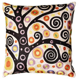 Klimt Ivory Throw Pillow Soulful Tree Of Life Silk Hand Embroidered 18