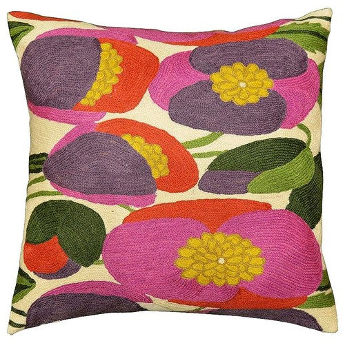 "Lily Bloom Modern Accent Pillow Cover Hand Embroidered 18"" x 18"" - KashmirDesigns"