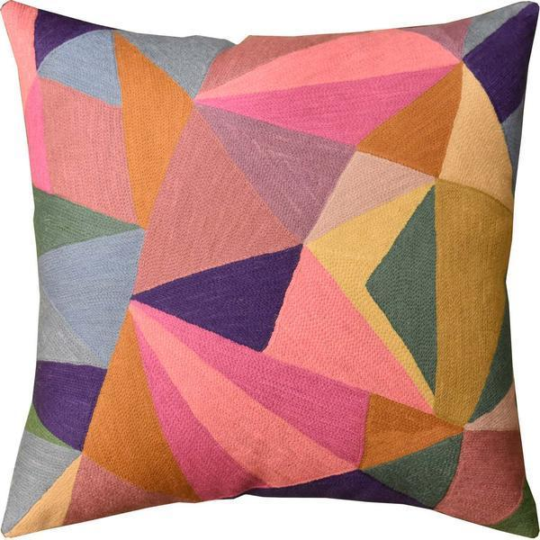 "Prism Geometric Composition Decorative Pillow Cover Handembroidered Wool 20""x20"" - KashmirDesigns"