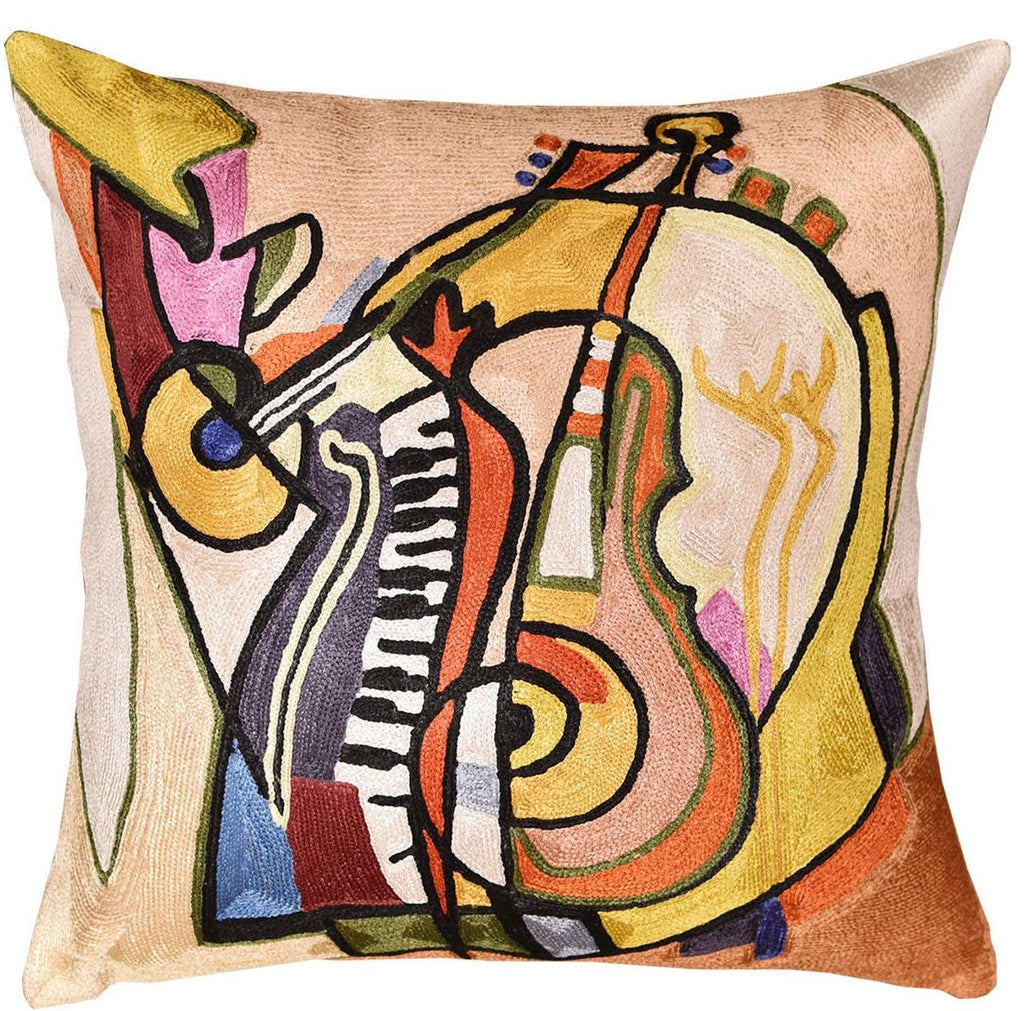 "Music is my Life by Alfred Gockel Accent Pillow Cover Handmade Art Silk 18"" x 18"" - KashmirDesigns"