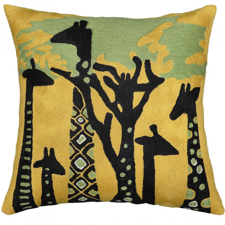 "Abstract Giraffe Throw Pillow Cover Hand Embroidered 18"" x 18"" - KashmirDesigns"