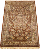6'X4' Kirman Rug Pure Silk Pile Oriental Area Rugs Carpet Hand Knotted