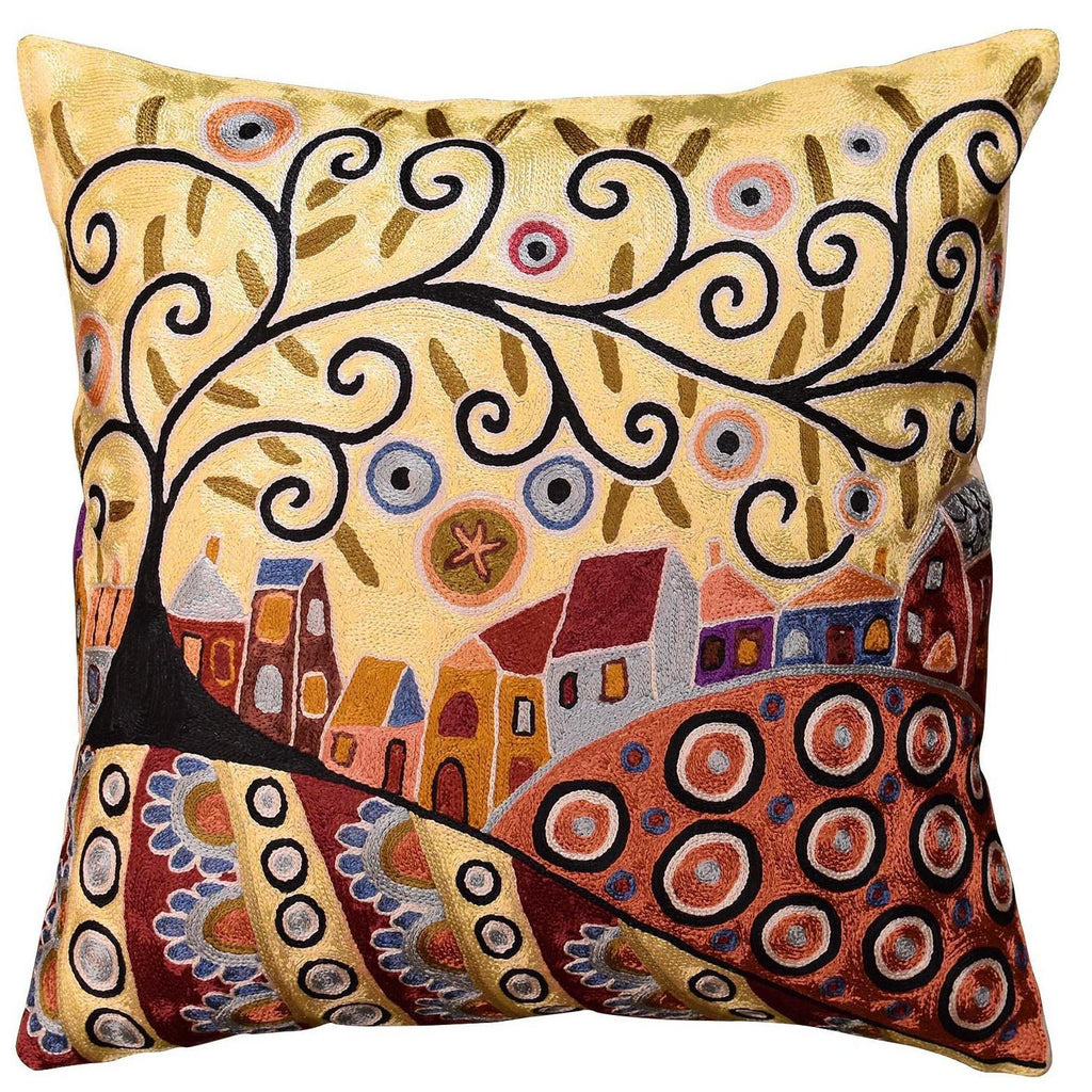 "Blooming Village Karla Gerard Throw Pillow Cover Handembroidered Art Silk 18""x18"" - KashmirDesigns"
