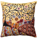 Blooming Village Karla Gerard Throw Pillow Cover Handembroidered Art Silk 18
