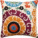 Suzani Decorative Pillow Cover Medallion II Elements Handembroidered Wool 18x18