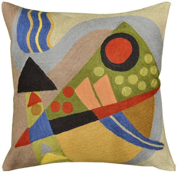 "Kandinsky Composition VII Cushion Cover Hand Embroidered 18"" x 18"" - KashmirDesigns"
