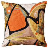 Kandinsky In the Flow II OrangeAccent Pillow Cover Handmade Art Silk 18