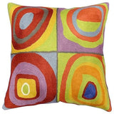 Kandinsky Throw Pillow Farbstudie Quadrate II Hand Embroidered 18