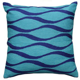 Contemporary Waves Aqua Turquoise I Decorative Pillow Cover Wool 18