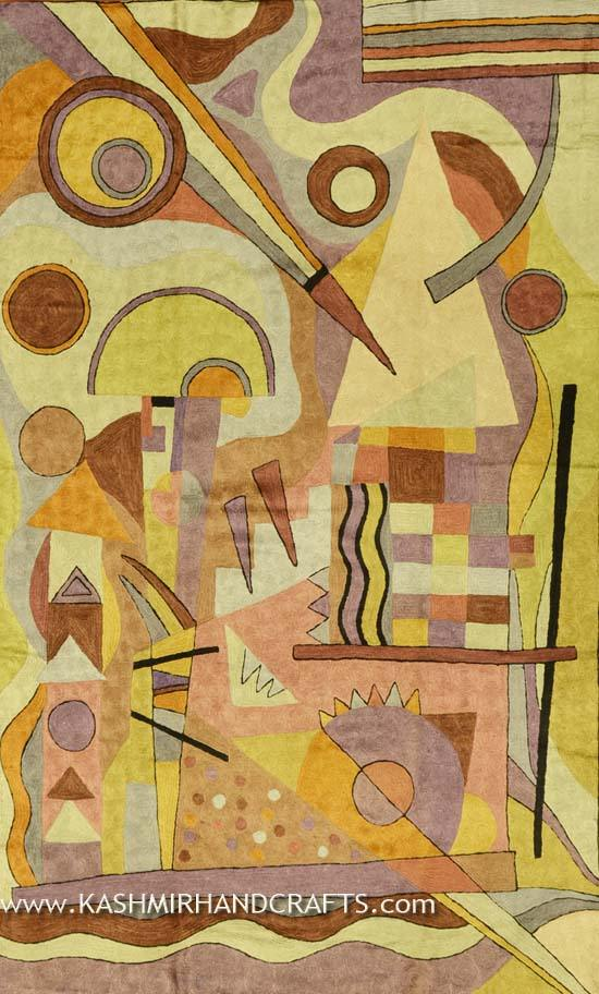 Kandinsky Composition Silk Abstract rug / tapestry / Tapestry Hand Embroidered 3ft X 5ft