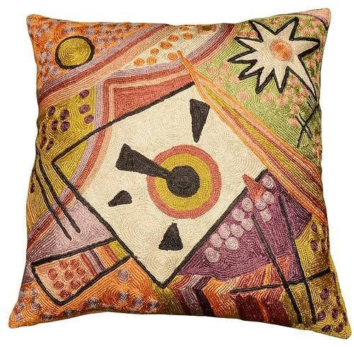 "Kandinsky Point Of Life Silk Cushion Cover Hand Embroidered 18"" x 18"" - KashmirDesigns"