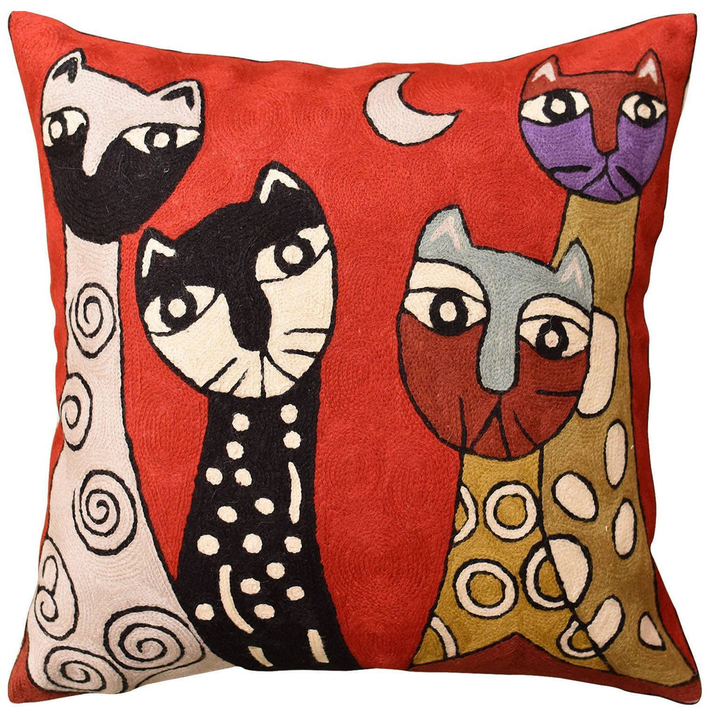 "Picasso Red Cat Quadruplets Decorative Pillow Cover Handembroidered Wool 18""x18"" - KashmirDesigns"