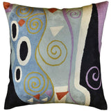 Klimt Cushion Cover Decorative Marine Hand Embroidered Wool 18x18