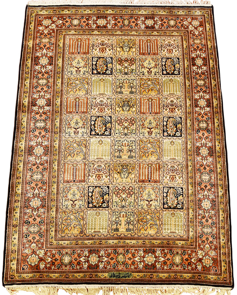 6'X4' Qum Brown Tree Of Life Rug Pure Silk Pile Oriental Area Rugs Carpet Hand Knotted