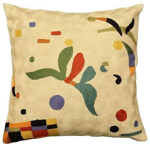 "Kandinsky Elements Creme Pillow Cover Hand Embroidered 18"" x 18"" - KashmirDesigns"