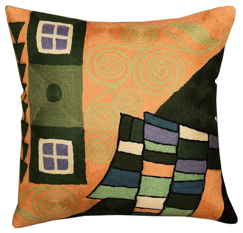 "Klimt Pillow Cover Fusion Tree of Life Hand Embroidered, Green/Tan, 18""x18"" - KashmirDesigns"