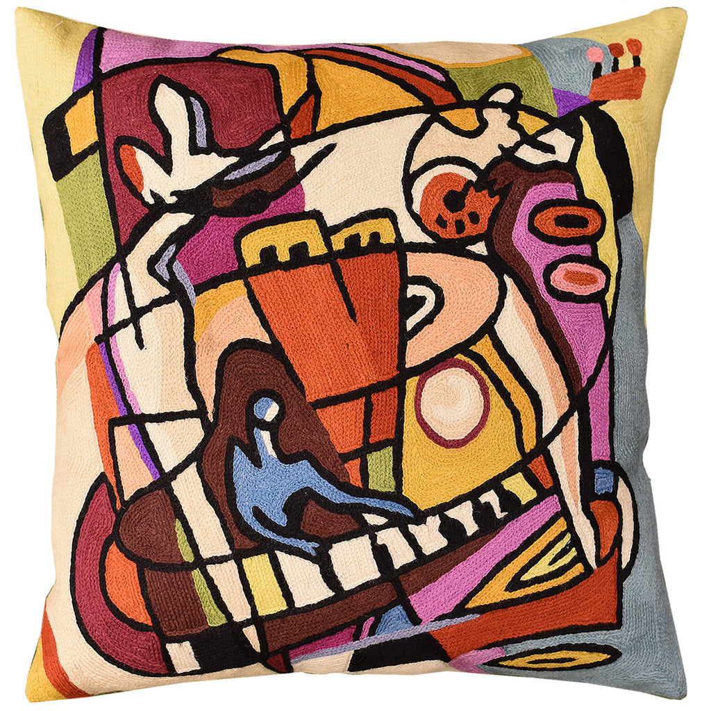 "Stroking the Keys by Alfred Gockel Accent Pillow Cover Handmade Wool 18"" x 18"" - KashmirDesigns"