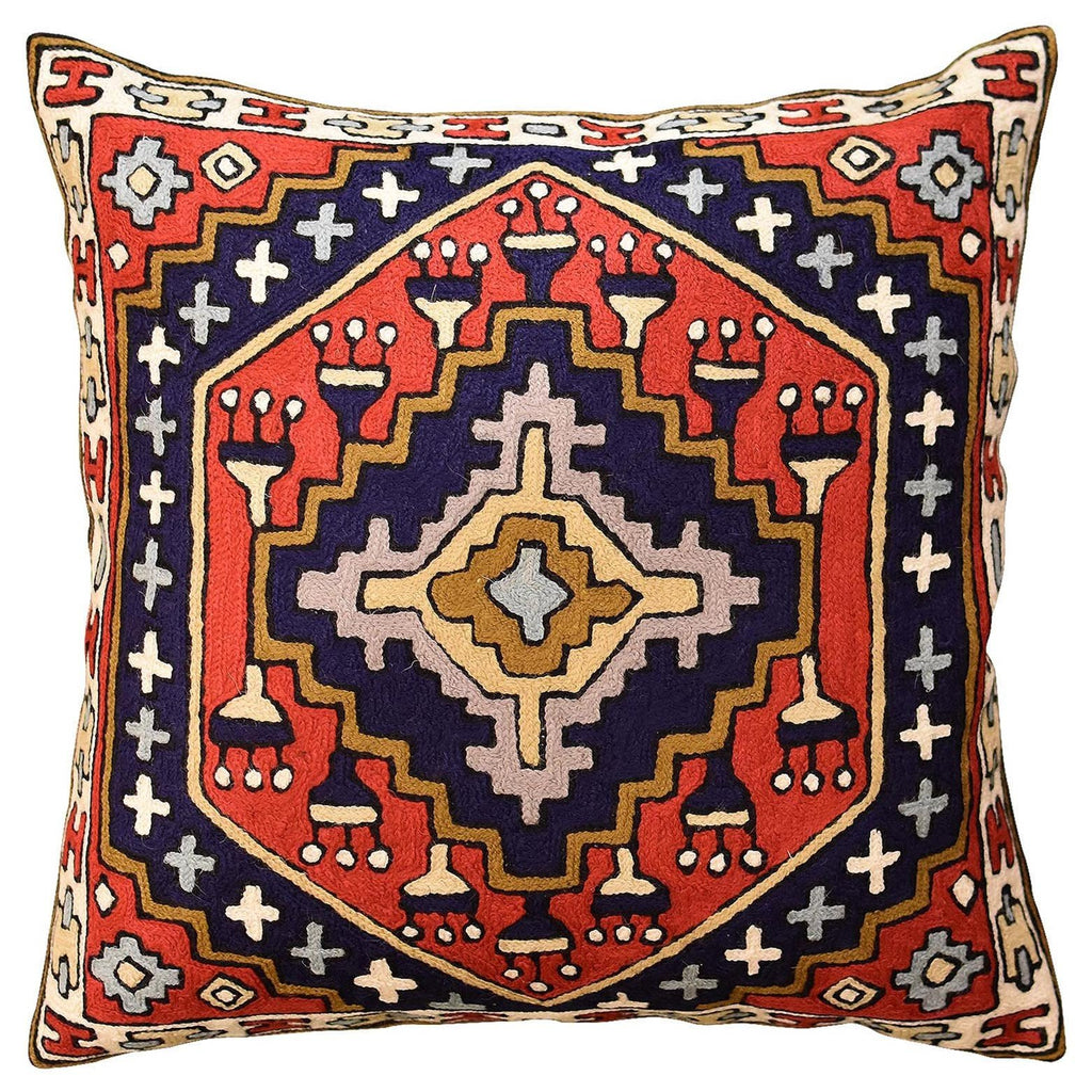 "Tribal Kilim Southwestern Red Navy II Pillow Cover Handembroidered Wool 18x18"" - KashmirDesigns"