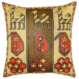 Tribal Southwestern Symbols Accent Pillow Cover Hand Embroidered Wool 18x18