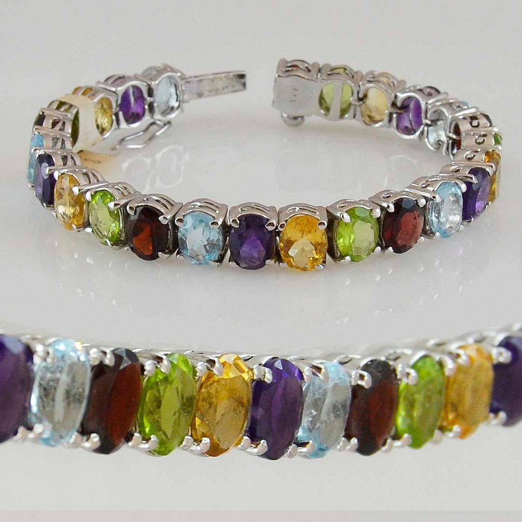 Multi Stone Natural Stone Bracelet Sterling Silver Oval - Kashmir Designs