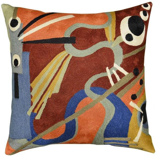 "Kandinsky Pillow Cover Intuitive Flow II Wool Hand Embroidered 18"" x 18"" - KashmirDesigns"