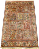 6'X4' Hamdan Brown Tree Of Life Rug Pure Silk Pile Oriental Area Rugs Carpet Hand Knotted